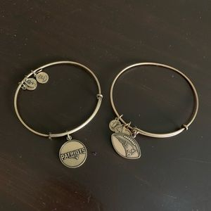 TWO patriots football Alex and ani bracelets